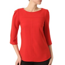Red Pleated Shoulder Swing Top