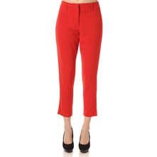 Red Cropped Cigarette Trousers 27