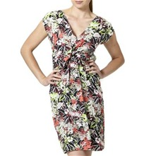 Black/Multi Tropical Print Cotton Dress