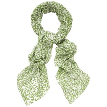 Green/White Printed Silk Blend Scarf