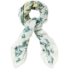 White/Green Hawaiian Print Scarf