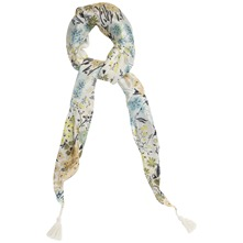 Multicoloured Floral Print Silk Scarf