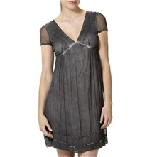 Charcoal Faded Effect Chiffon Tea Dress