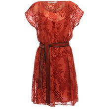 Red Devore Velvet Dress