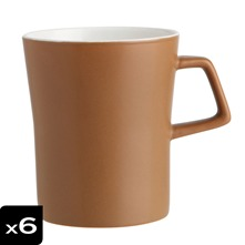 Lot de 6 mugs 33cl Coffee matt crème