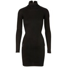 Black Turtleneck Wool Blend Dress