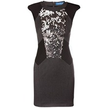 Grey/Black Sequin Panel Dress