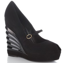 Black Fan Wedge Shoes 13cm Heel