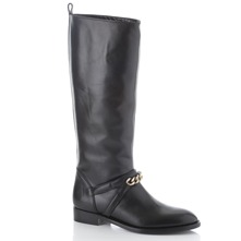 Black Chain Riding Boots 2.5cm Heel