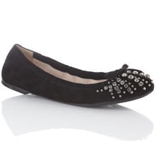 Black Suede Diamanté Studded Pumps
