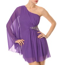 Purple One Shoulder Embellished Dress