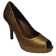 Bronze Sasha Peep Toe Shoes 10cm Heel