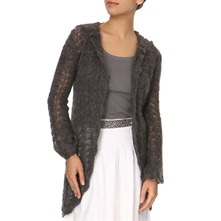 Shadow Grey Wool Blend Long Knit Cardigan