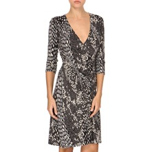 Grey Print Jersey Wrap Dress