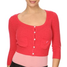 Red Cashmere/Wool Blend Cropped Cardigan