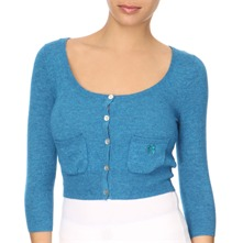 Blue Cashmere/Wool Blend Cropped Cardigan