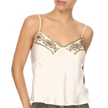 Cream Mesh Embroidered Camisole Top