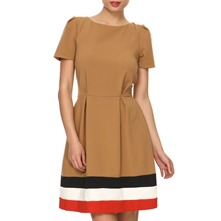 Camel Striped Hem Tea Dress