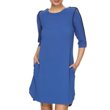 Blue Contrast Trim Shift Dress
