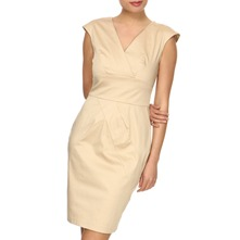 Beige Panelled Pencil Dress