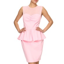 Pink Cotton Peplum Dress