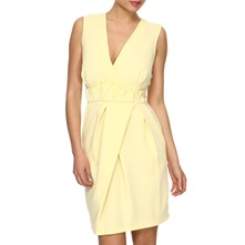 Yellow Structured Pleat Dress