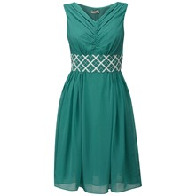 Green Charlotte Embroidered Waist Dress
