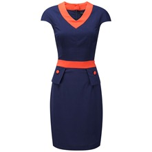 Navy/Orange Carvella Peplum Dress