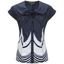 Navy Carnival Tie Neck Top