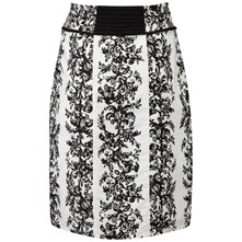 White/Black Moulin Pencil Skirt