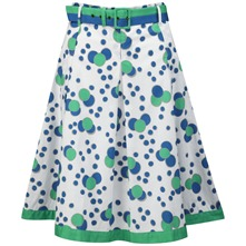 White/Green Perle Dotty Full Skirt