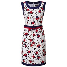 White/Navy Perle Spotty Pencil Dress