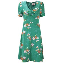 Green Peggy Mixed Print Empire Dress