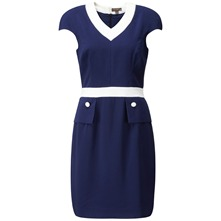 Navy/Cream Carvella Peplum Dress