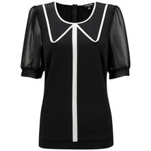 Black Millie Contrast Collar Top