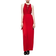 Red Macrame Jersey Maxi Dress