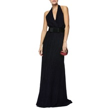 Dark Purple Halterneck Evening Dress