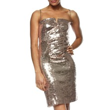 Gold Metallic Short Sequin Dress