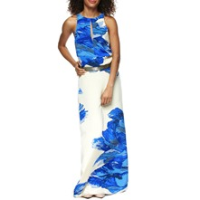 Blue Floral Print Silk Maxi Dress
