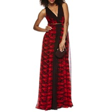 Red Printed Racer Back Silk Maxi