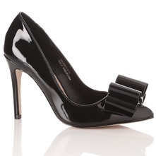 Black Khloe Patent Bow Shoes 10cm Heel