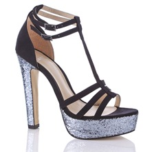 Black Glitter Lara Shoes 14cm Heel