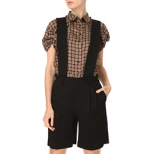 Black Wool Culottes Shorts/Braces