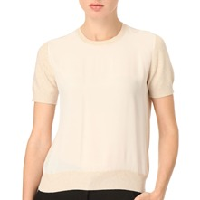 Cream Silk Front Knitted Top