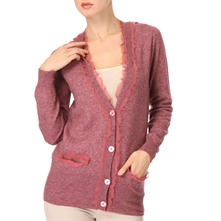 Pink Silk-Trimmed Wool-Blend Cardigan