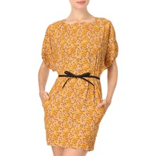Yellow Flower Print Belted Dress