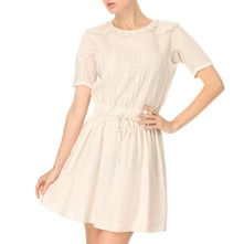 Cream Pleated Cotton/Silk Blend Dress