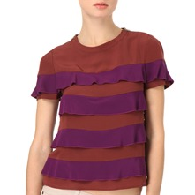 Purple/Port Tiered Silk Top