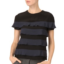 Navy/Black Tiered Silk Top