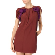Purple/Port Ruffle Silk Dress